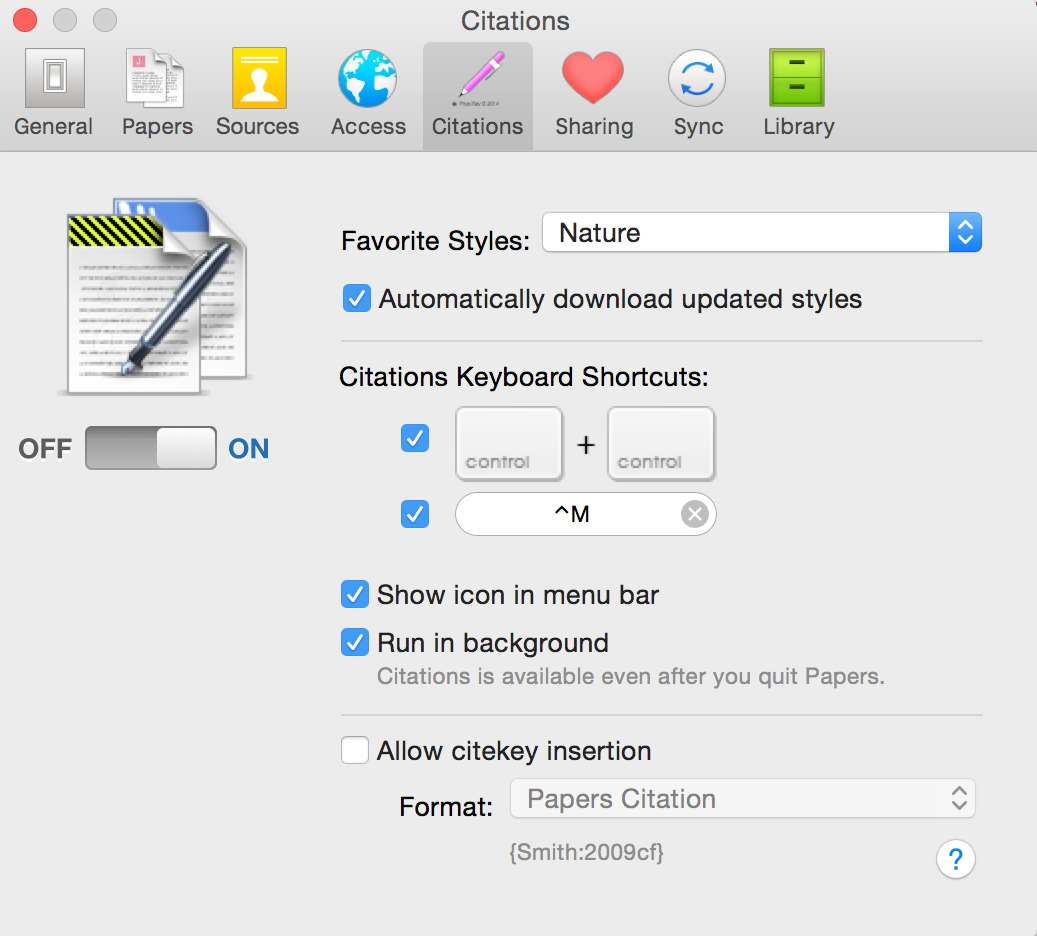 magic citations on papers for mac cite write your manuscripts the citations tool is ctrl ctrl you can also customise the keyboard shortcut by manually entering a shortcut in the bar below the ctrl ctrl option